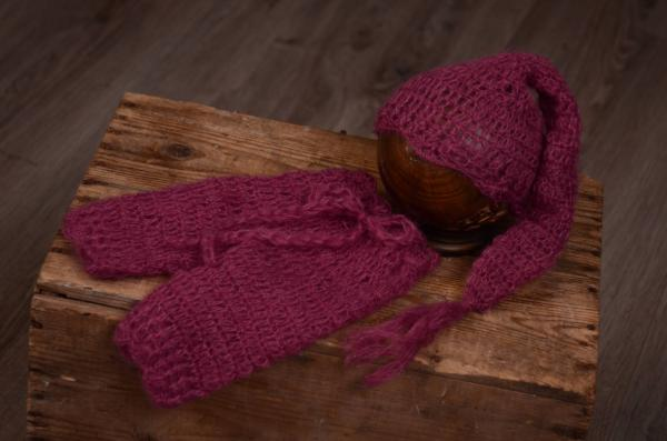 Ensemble en mohair pantalon et bonnet long bougainvillée