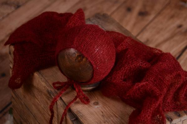 Set en mohair de wrap et bonnet bordeaux
